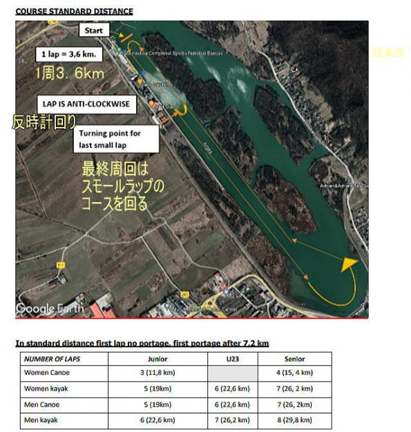 ckmarathon1002coursemap 595x626 - カヌーカヤックマラソン世界選手権2021ルーマニア初日の日本選手の成績